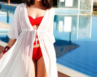 Egyptian Princess Kaftan - Elegant cover-ups with drawstrings on bust-line, ideal to pair up with any swimwear