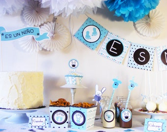 Baby Shower Party Package for  8. Ready to use. Printed Party Package. Baby shower party in a box. Gender reveal party. Gender cake party