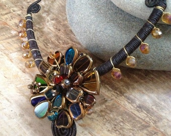 Handmade multicolor glass beaded flower necklace/ metal free jewelry