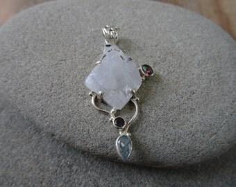 925 Sterling Silver Pendant/ Moonstone Rough/ Blue Topaz/ Handmade pendant