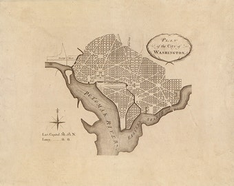 L'Enfant 1792 Vintage Washington DC Map