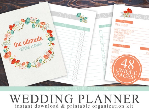 Printable Wedding Planner Binder Planning A Rustic: Printable Wedding Checklist Planner