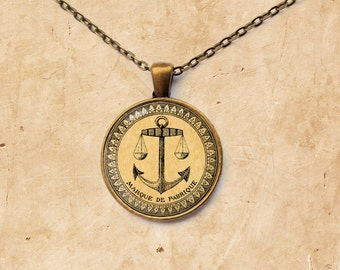 French Anchor pendant Sea jewelry Nautical necklace