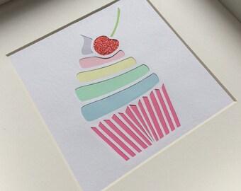 Hand drawn, hand cut, framed, cupcake papercut