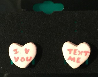 Valentine Polymer Clay Conversation Heart Earrings