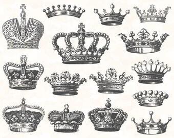 Digital Crown Clip Art Digital Heraldic Clip Art Hand Drawn Vintage Crown Clipart Digital Antique Crown and Heraldic Clipart 0126