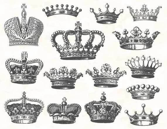 Digital Crown Clip Art Digital Heraldic Clip Art Hand Drawn