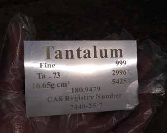 99. 9% High Purity Tantalum Metal Ta Plate Carved Element Periodic Table