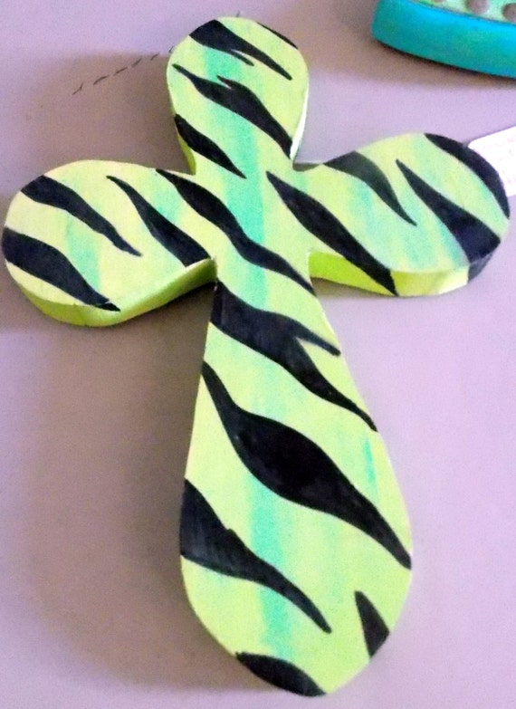 lime green zebra stripe hand painted cross by mstarcreations. Black Bedroom Furniture Sets. Home Design Ideas