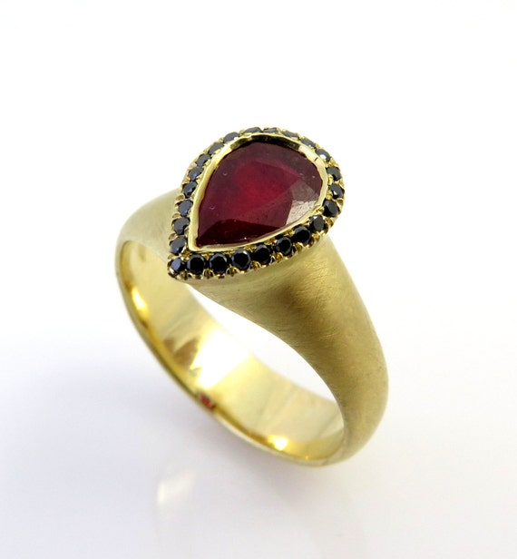 Gold ruby ring 14K gold ring Black diamond by inbarfinejewelry
