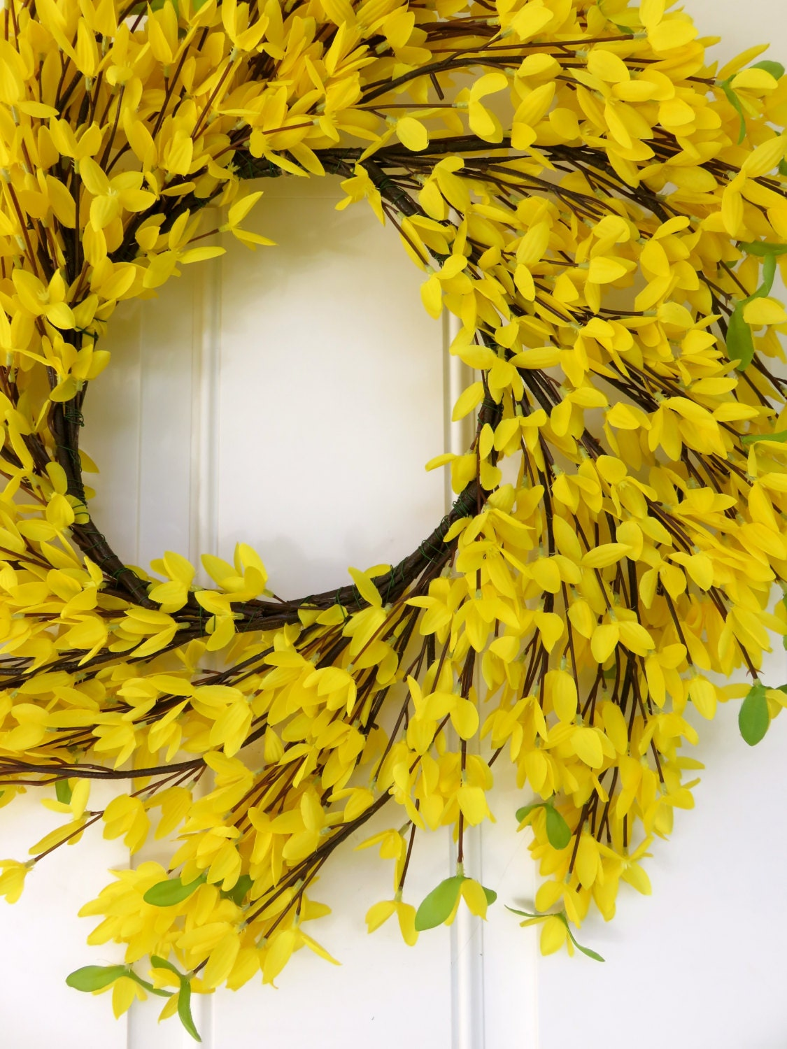 Forsythia wreath yellow - Yellow Spiral Wreath Front Door Wreath Fall Wreath For Front