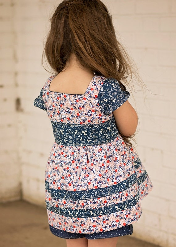 Rayann's Retro Dress & Top. PDF sewing pattern for toddler girl sizes 2t - 12.