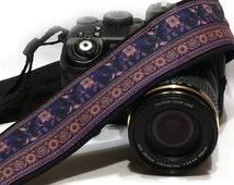 Lucky Elephants Camera Strap. dSLR Camera Strap. Canon, Nikon Camera Strap. Women Accessories
