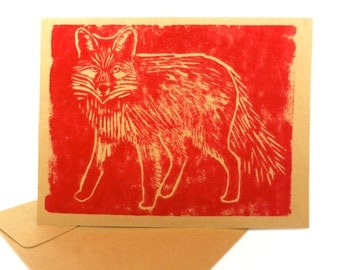 Hand Printed Card -- Red Fox