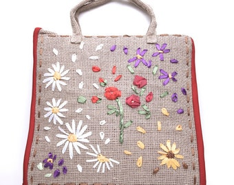 Charming hand-made embroidered linen shopping bag tote