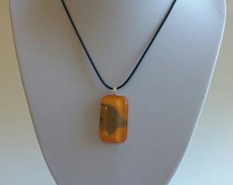 Orange Frost Glass Pendant