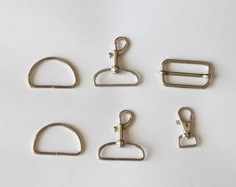 The Alice Bag/Logan Bag hardware kit, crossbody bag pattern, adjustable strap, moveable slide, key catcher, swivel hook, snap hook, D-ring