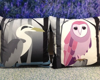 ForestFabric Cushion cover 100% cotton 40x40cm -Woodland Birds-