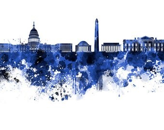 Washington DC skyline in watercolor on white, 8 monochrome colors, and full color 8x10 in. to 12x16 in. Poster Wall art Print Art - SKU 0761