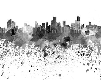 Bogota skyline in watercolor on white, 8 monochrome colors, and full color 8x10 in. to 12x16 in. Poster Wall art Print Art - SKU 0841