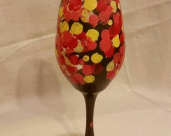 Hand Painted Autumn Leaves Wine Glass