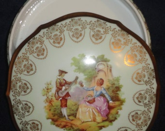 "JS Limoges made in France powder trinket jewlery box 6.5""W victorian scene-gold embellished"