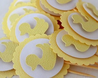 12 x Duck Cupcake Toppers;  gender neutral baby shower, birthday, yellow