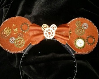 Steampunk Mouse Ear Headband - leather