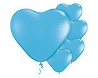 Balloons | Pale Blue Heart Balloons | Baby Shower | Heart Balloons | Blue Balloons | Party Balloons | Baby Shower Balloons | 6 Inch Balloons