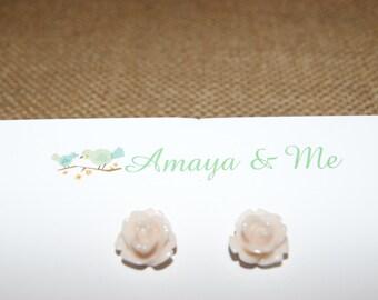 Resin Rose Flower Cabochon Earrings