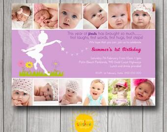 Girl Birthday Invitation Personalised Printable 1st Birthday Photo Invitation Purple Fairy