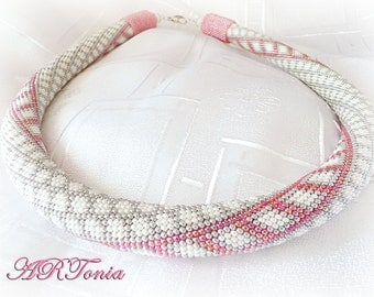 bead crochet rope necklace handmade jewelry seed beads jewelry beadwork unique beaded jewellery gift for her gift for mom