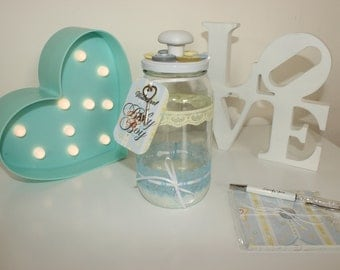 Baby Shower Guest Book Alternative - Keepsake message jar (boy)