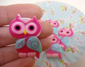 Cute kawaii dark pink owl cabochon set of 5 owls embellishments 22X35mm resin cabochon flatback scrapbook embellishment DIY phone