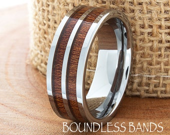Double Wood Inlay Tungsten Ring Wood Wedding Band Flat High Polished Wedding Ring Promise Ring Hers His Womens Mens Tungsten Ring New Design