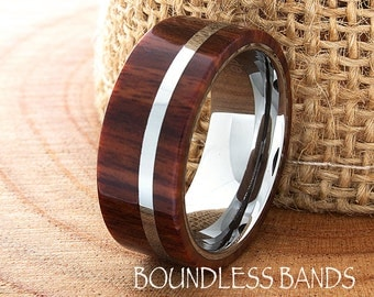 Hawaiian Koa Wood Tungsten Wedding Ring Flat High Polished Comfort Fit Tungsten Band Mens Ring Mens Wedding Ring Wood Wedding Ring New 8mm