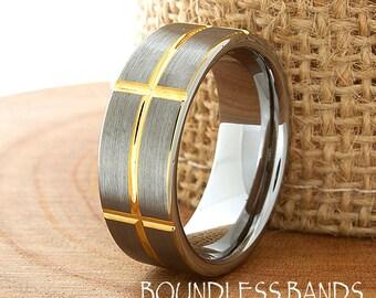 Wedding Band Ring 8mm 18K Two Tone Man Wedding Band Male Women Custom Laser Engraving Anniversary Handmade Patterned Tungsten Carbide Ring