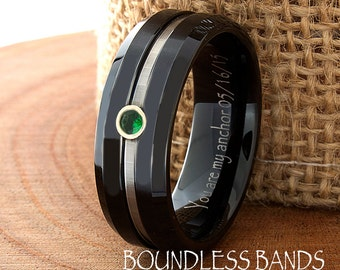 Tungsten Wedding Band Ring Flat Beveled Customized Band Any Design Laser Engraved Ring Mens Tungsten Ring New Design Modern Grooved Emerald