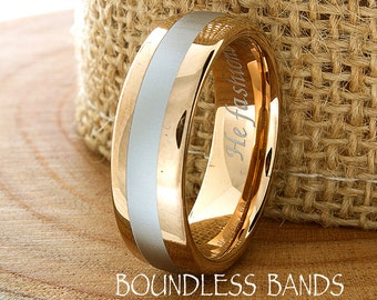 Two Tone Rose Gold Tungsten Wedding Band Ring Anniversary Mens Unique Wedding Band Mens Wedding Ring Tungsten Ring Engraved Mens New Design