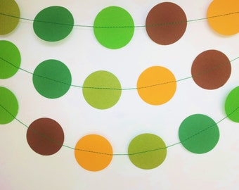 DINOSAURS Paper Circle Garland - Party, Shower, Nursery, Children's Room decoration