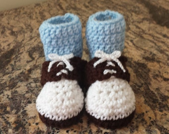 Brown Saddle Shoe Style Baby Booties