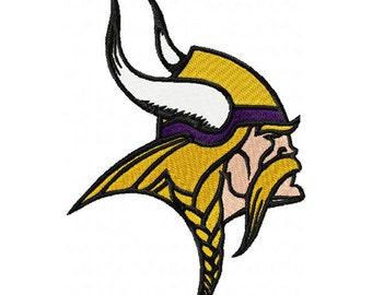 """Minnesota Vikings - Viking's Head - Hoop sizes 4""""x4"""" 5""""x7"""", 6""""x10"""" - Finished product 3""""x3"""", 4""""x5"""", 5""""x7"""""""