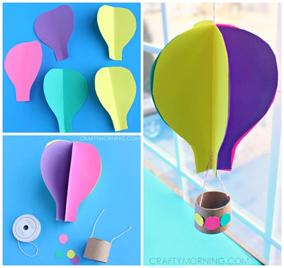 3d spinning hot air balloon craft template pronofoot35fo Gallery