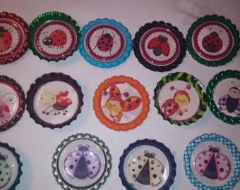 15 ladybug multi-color bottle cap magnets refrigerator kitchen ladybugs