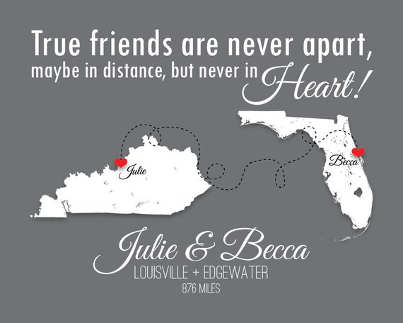 Long Distance Friendship Best Friends BFF Gift By SoleStudio