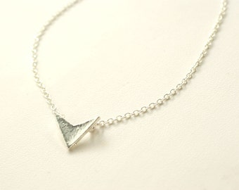 Chevron Silver Necklace, Arrow Necklace, Tiny, Dainty, Simple, Everyday, Anniversary, Birthday Gift, Mother's Day