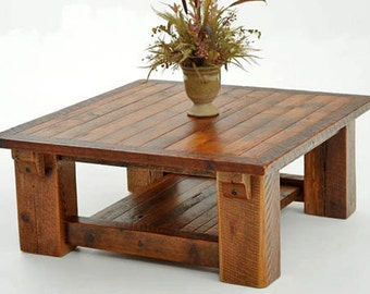 Rustic Reclaimed Barnwood Coffee Table With Shelf
