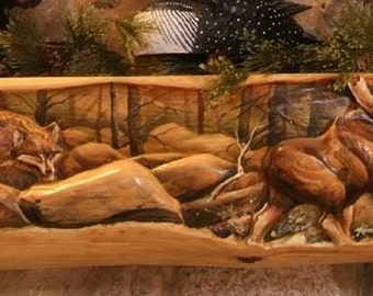 Rustic Hand Carved Log Fireplace Mantels