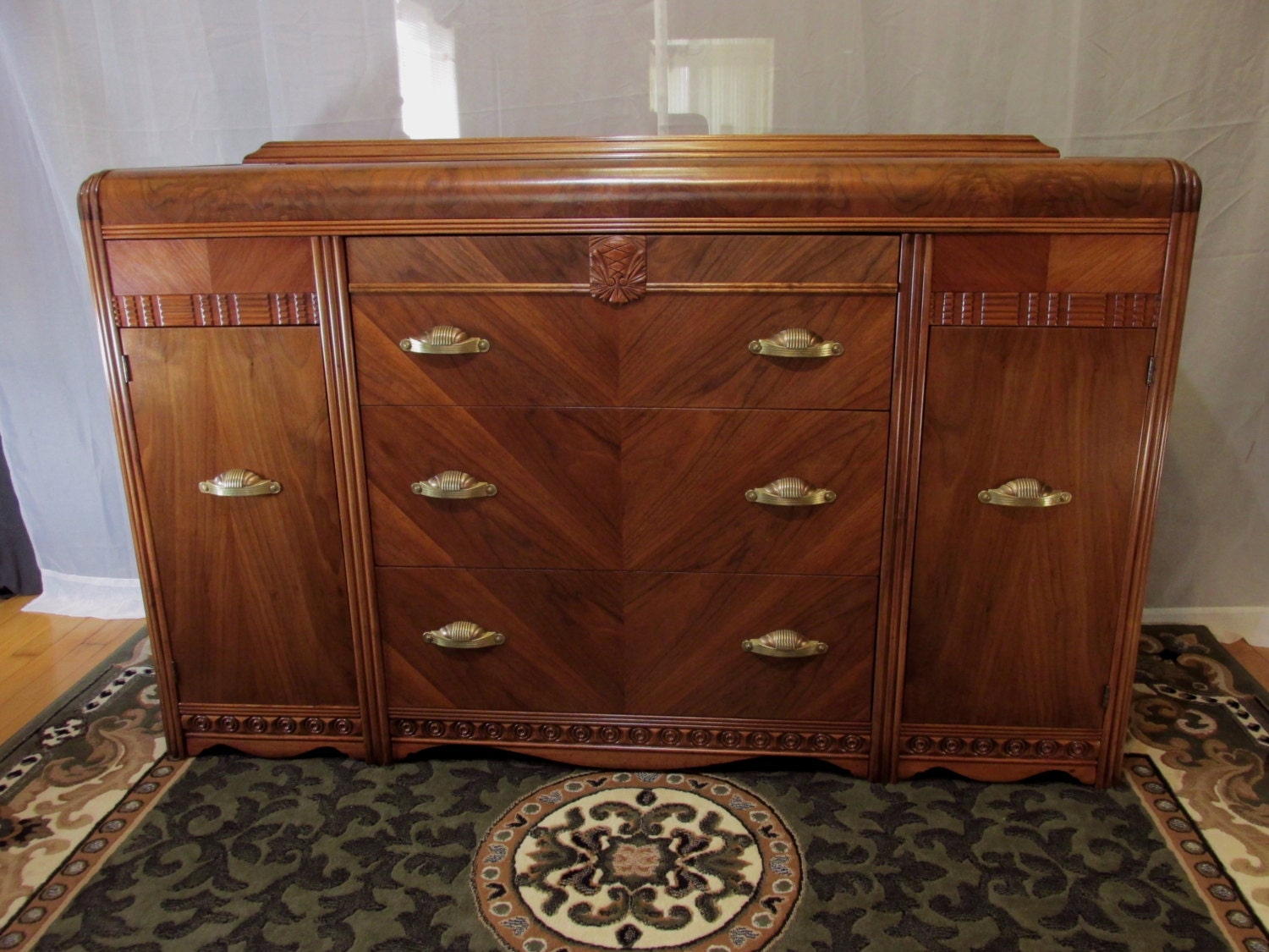 Restored Art Deco Sideboard With Waterfall Top Buffet