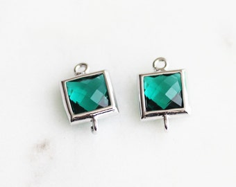 A2-053-R-EM] Emerald Green / 7mm / Rhodium plated / Square Glass Pendant Connector /  2 piece(s)